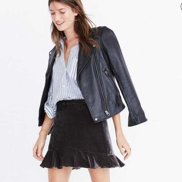 a861364ea Madewell Skirts | Velvet Ruffle Edge Mini Skirt Gray | Poshmark